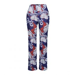 Iman Flared Mesh Trousers - Blue Abstract