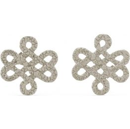 Tulola Infinity Knot White Platinum over Silver Studs