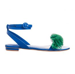 JAJA ROYAL BLUE Flat Leather Frufu Handmade Sandals