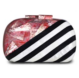 Jean Red Abalone Black Pen Shell White Kabebe Clutch