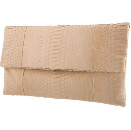 Katja Tamara Envelope Capppuccino Python Leather Clutch