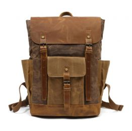 Large Waxed Canvas Backpack With Leather Front