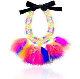 Larus Multi Rainbow Coloured Feather Necklace