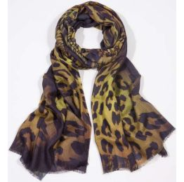 Bindya NY Leopard Kaleidoscope Yellow Scarf