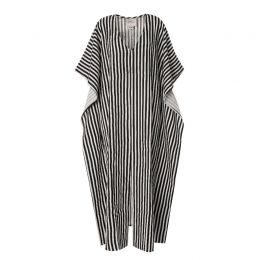 Let There Be Peace Black & White Striped Kaftan