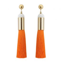 Long Orange Tassel Earrings | Sollis Jewellery