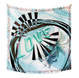 Love Square Silk Scarf - Blue