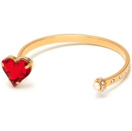 Thin Heart Cuff with Swarovski Crystal and Pearl