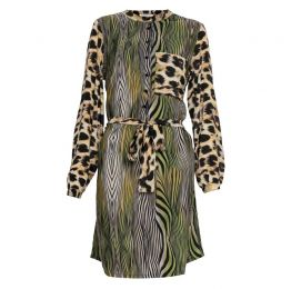 Lulu Shirt Dress in Leopard and Green Tiger