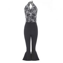 MAIKA Halter neck embroidered jumpsuit with flared trousers