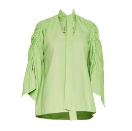 Maxine Blouse with neck tie in green cotton needle-cord