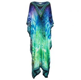 Miami Maxi In Blue And Green Animal Print Kaftan