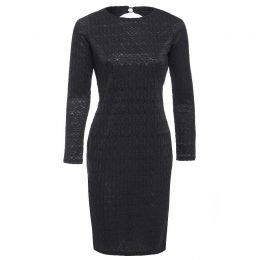 MORENA Long sleeve backless black lace dress