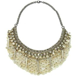 Deepa Gurnani Mother of Pearl Bib Necklace Ivory