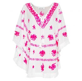Mykonos Embroidered Kaftan In White With Pink