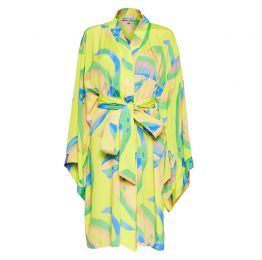 Niko Japanese Kimono in Yellow Palm Print