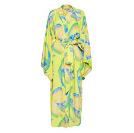 Niko Japanese Maxi Kimono in Yellow Palm Print