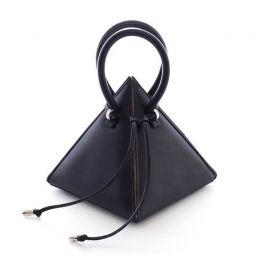 Gaudi Lia Pyramid Black Soft Sheep Leather Handbag | Nita Suri