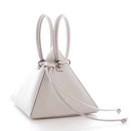 Gaudi Lia White Soft Sheep's Leather Handbag | Nita Suri