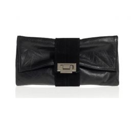 Nite Cap Clutch in Black Distressed Leather Black Suede Band
