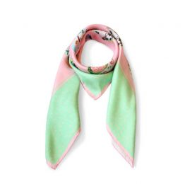 Mint Green and Pink Teatime Teacup Silk Scarf