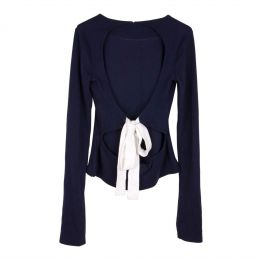 Organic Cotton Navy Backless Jumper With White Bow