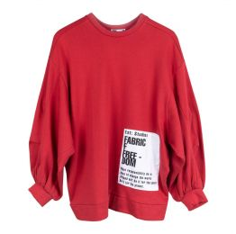 Organic Cotton Oversized Red Jumper With Patches