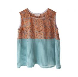 Osku Coral & Blue Plissé Top