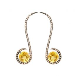 Oulu Earrings White Gold + Black Rhodium, White Diamonds + Yellow Citrine | Afew Jewels
