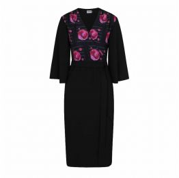 Pearl Wrap Dress in Black with Geranium Planet Print