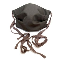 Plain Black with Brown Ties Face Mask