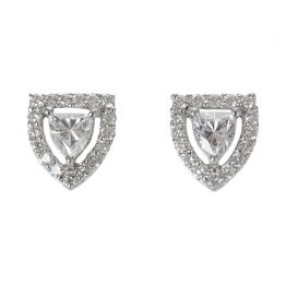 Fancy Shield Shape Diamond in Platinum Stud Earrings | Ri Noor Jewelry