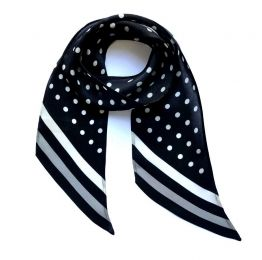 Polka Dot Silk Neck Scarf Black