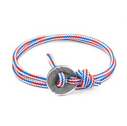 Project-RWB Red White and Blue Lerwick Silver and Rope Bracelet | ANCHOR AND CREW