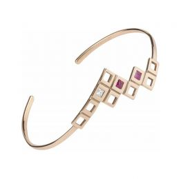 Pyramid Bracelet 18K Rose Gold, White Diamonds, Magenta Ruby | Afew Jewels