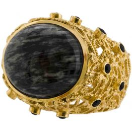 Isharya Moon Bali Cocktail Ring Black Jasper