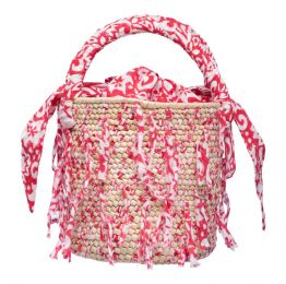 Red Weaved Fabric Palm Bucket Bag