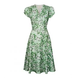 Rita - Green Apple Blossom Dress | Tencel