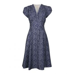 Rita - Navy Feather Dress | Tencel