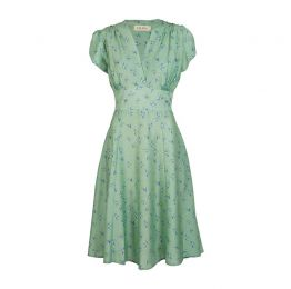 Rita - Tencel Green Swallows Dress