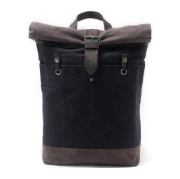 Roll Top Waxed Canvas And Leather Backpack