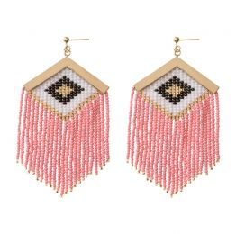 Rombo Embera Earrings in Pink