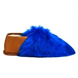 Royal Blue Alpaca Fur Slippers