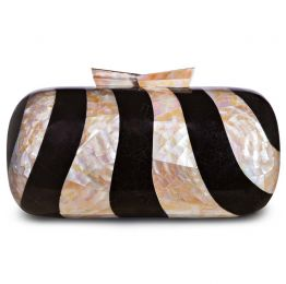 Sadie Black Pen & Cream Kabebe Shell Clutch