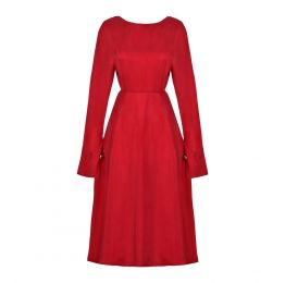 SHAY Red Long Sleeved Backless Midi Dress