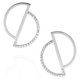 Silver Asymmetry Circle Earrings | OSYLIA London