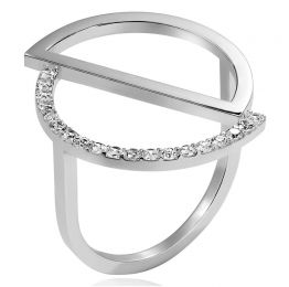 Silver Cricle Asymmetry Ring | OSYLIA London