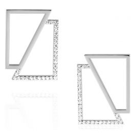 Silver Asymmetry Square Earrings | OSYLIA London