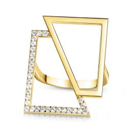 14k Yellow Gold Square Ring | OSYLIA London