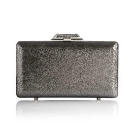 Tamara Pewter Metallic Leather Clutch